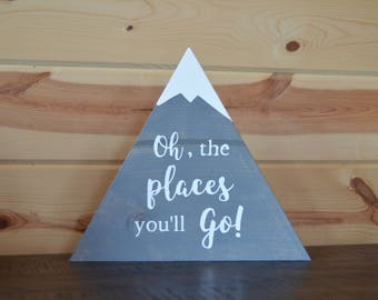 Oh, the Places You'll Go! Grey Wood Mountain Sign Baby Shower Gift Decoration