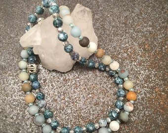 Green Jasper with crystal, authentic amazonite and crystal crystal 4mm beads.
