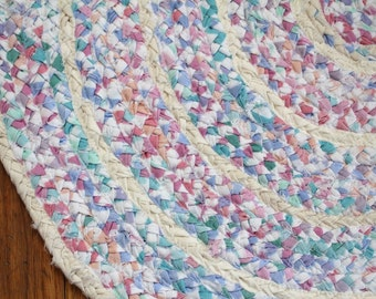 Rustic Upcycled Handmade Oblong/Oval Braided Rag Rug - free shipping