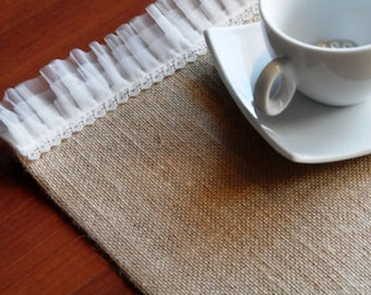 Set of 6 Burlap Linen Placemats -  - Wedding placemats - Burlap placemats - Home decor