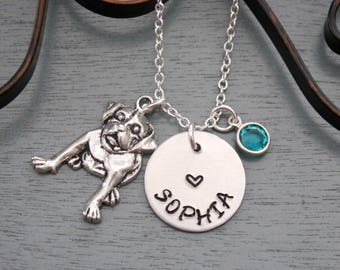 Personalized Dog Necklace, Dog Necklace, Dog Name Necklace, Dog Heart Necklace, Name Birthstone, Puppy Necklace, Puppy Gifts, Cute, Custom