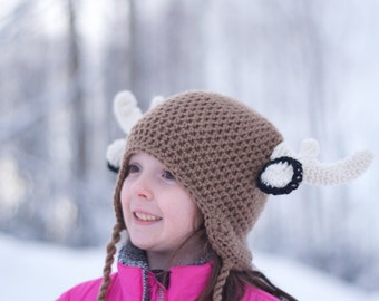 Crochet Deer Hat, Cap, Beanie, Halloween Costume, Boy Hat, Girl Hat, Moose Hat, Photo Prop