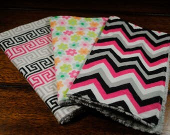 Pink grey black chevron and lines, flowers print washcloths, 3 Snuggle Flannel and Chenille Washcloths, Ultra soft, Great baby shower gift