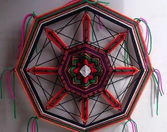 Mexica - decorative yarn mandala (ojo de dios/olho de deus), wall hanging, decor, about 29 cm in diameter (11.4')