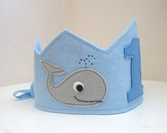 Whale Birthday Crown, Birthday Crown, Wool Felt Crown, Boy Birthday,  Smash Cake, Photo Prop, Velcro