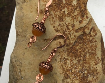 Orange Quartz and Copper Earrings
