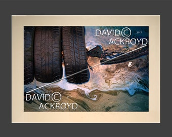 Tire mark- post industrial art- eye catching inspired and quirky- mounted 18X12 prints BY David. C. Ackroyd