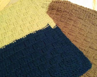 Green Brown blue knit baby blanket