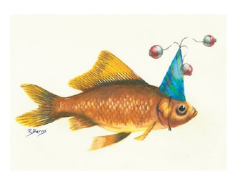 Party Goldfish Print Gifts for Him Fishing Fisherman Roxanne Burns Flying Hostess Gift Gamefish California Deep Sea notecards Art