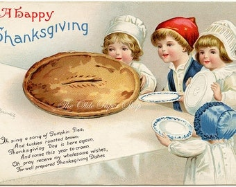 Ellen Clapsaddle Antique Thanksgiving Postcard Children Waiting at Table Large Pie