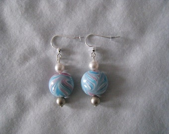 Blue & Pink Swirl Lampwork, Swarovski White and Platinum Pearl Earrings/Gift/Women's/Sterling Silver Earwires/All Occasion