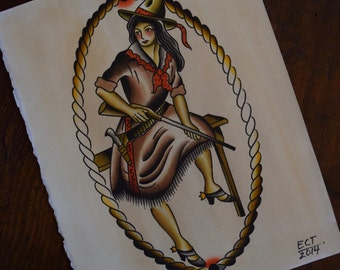 Rifle Cowgirl Tattoo Flash Print
