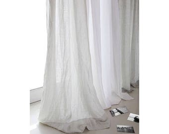 "Two linen curtains 52""/Bedroom panels/Washed stone curtains /Livingroom Linen panels/Striped curtain/Choose your length #TwoFaced#"