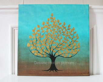 Tree of life turquoise and gold