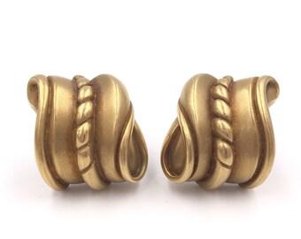 Barry Kieselstein-Cord 18K Gold Pierced Swirl Rope Statement Earrings
