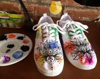 Lotus handpainted shoes