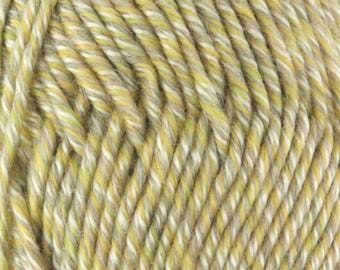 Chunky Melody Sage Heather Green Yellow Wool Blend Yarn Bulky 100g/skein