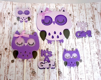 High Quality Owl Cake And Cupcake Toppers, Purple Baby Shower, Itu0027s A Girl Owl Baby  Shower