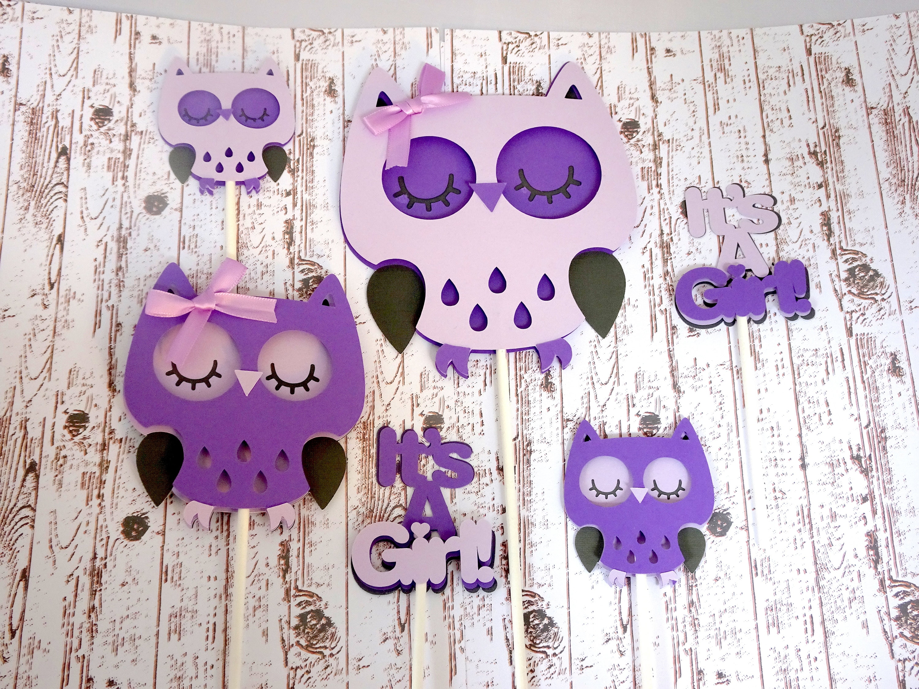 Owl Cake and Cupcake Toppers Purple Baby Shower It s A Girl Owl