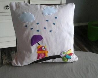 Pillowcase pillow bird in the rain
