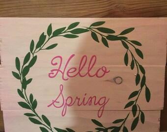 Custom Wooden Sign Hello Spring