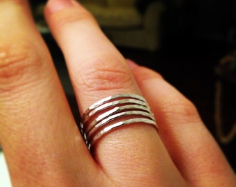 Hammered Stacking Ring - Sterling Silver