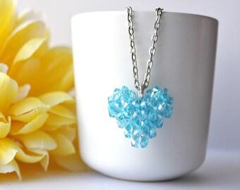 3D heart pendant - blue/teal crystal pendant - beaded heart - glass pendant - beadwoven jewelry - SoniaMalletCreations