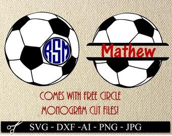 Soccer SVG Cut Files, soccer monogram svg, Soccer monogram DXF, Soccer cricut monogram, soccer ball name, soccer ball decal file