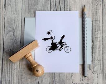 Stamp wedding, bicycle, wood stamps, bride and groom, tandem, wedding stamps, wedding couple,