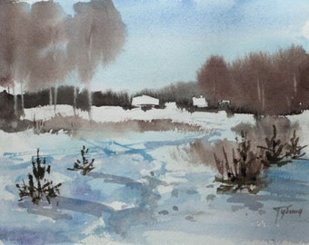 Original Watercolor Painting Landscape WINTER