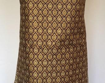 Batik Apron, Brown, Gold Foil