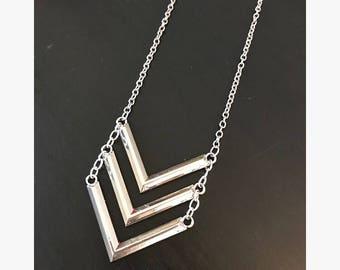 Triple V Silver Necklace