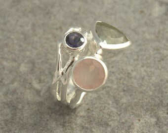 Sterling silver ring with stuted  differents stones