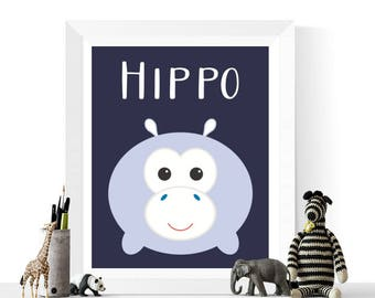 Cute Kawaii Style Hippo Art Printable | Kawaii | Nursery Printables | Nursery Decor | Safari Animals | Animal Print | Navy
