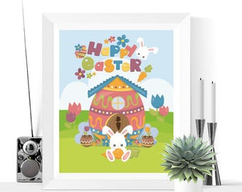 Happy Easter Printable Decoration Easter Bunny | Easter Decor | Easter Decorations | Easter Prints | Easter Printables