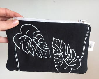 Monstera pouch // screen printed