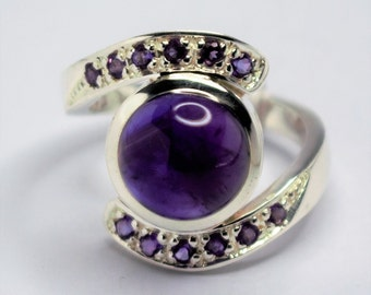 Ring solid silver twisted seam of amethysts