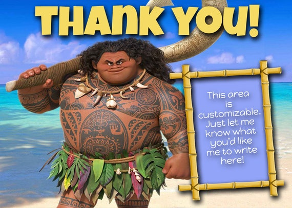 Maui Thank You Card Moana Party Thank You Card Printable