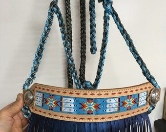 Beaded rope halter with fringe