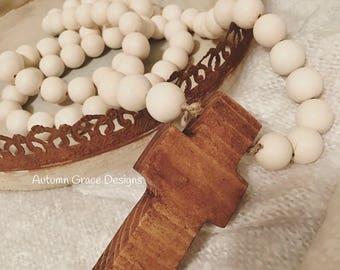 5ft. Wood Bead garland with handmade cross/farmhouse beads/ wood bead garland/ farmhouse style