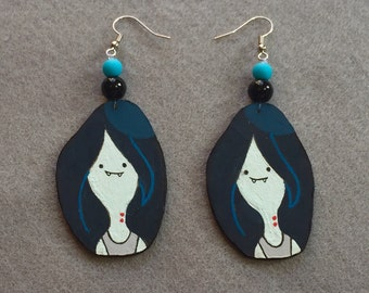 Marceline Earrings, Adventure Time, Wood Hand-crafted Painted