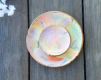 Jewelry dish set, Jewelry holder, Trinket dish, Vanity tray, Ring holder, Marbled tray, ring dish, Birthday gift, gift for her, Catch all