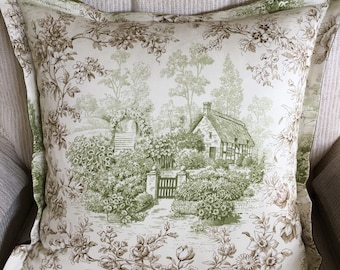 Designer toile pillow cover with flange