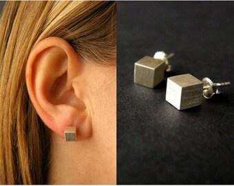 Matt silver, earrings, earrings, sterling silver 925 earring, dice made of Silver 925, handmade new
