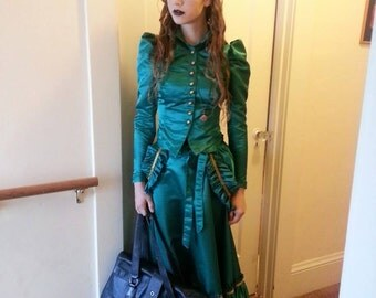 Victorian Steampunk 3 piece Gown with bustle