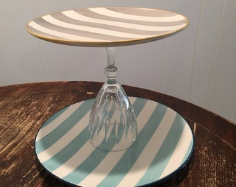 Striped Two-tier cake stand