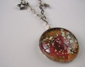 Red & Orange, Nebula, Space, Glass Pendant Necklace