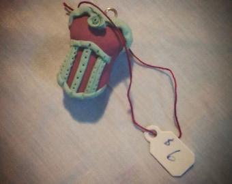 Burgundy and mint corset pendant