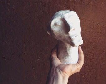 Sculpture in ceramic, clay, male head handmade ceramic art gifts, white.