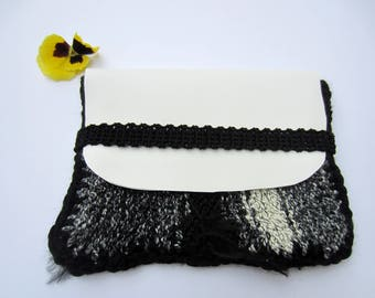 Kit makeup or knitting bag and black and white imitation leather